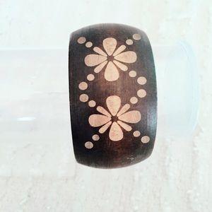 Wood Floral Bangle Bracelet Boho Bohemian